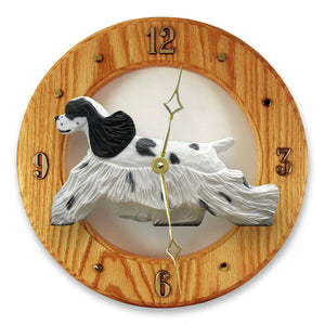 American cocker spaniel Dog Light Oak Hand Crafted Wall Clock Black Parti