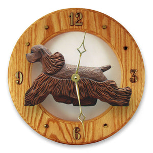 American cocker spaniel Dog Light Oak Hand Crafted Wall Clock Brown