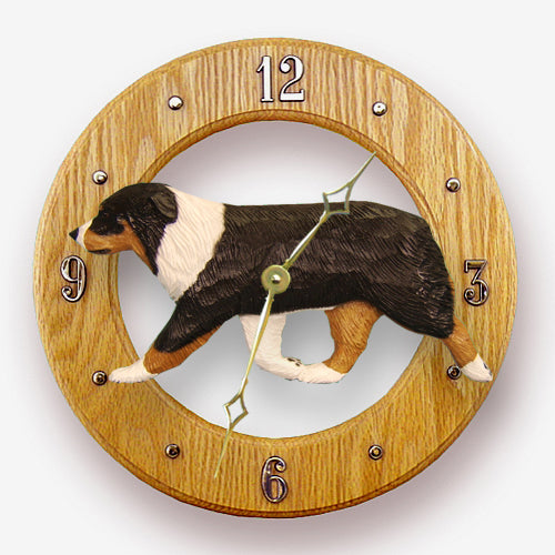Australian shepherd Dog Light Oak Hand Crafted Wall Clock Black Tri