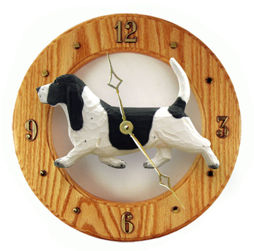 Basset hound Dog Light Oak Hand Crafted Wall Clock Black and White