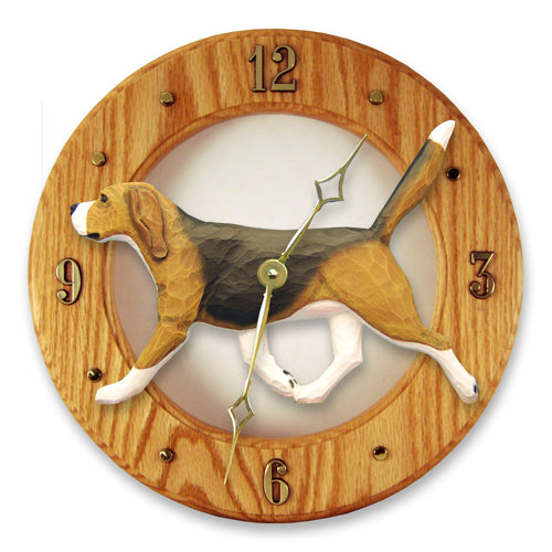 Beagle Dog Light Oak Hand Crafted Wall Clock Red and White