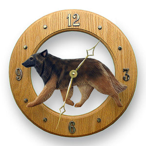 Belgian tervuren Dog Light Oak Hand Crafted Wall Clock