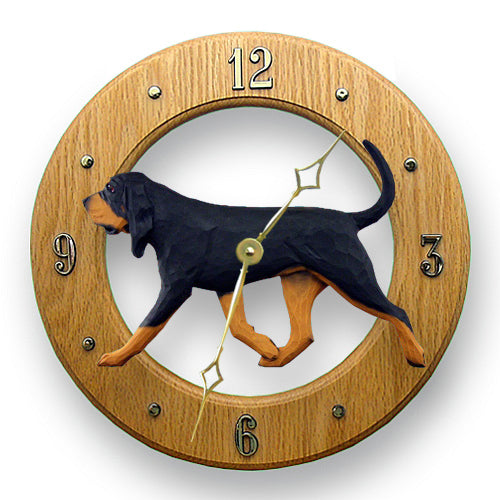 Bloodhound Dog Light Oak Hand Crafted Wall Clock Black and Tan