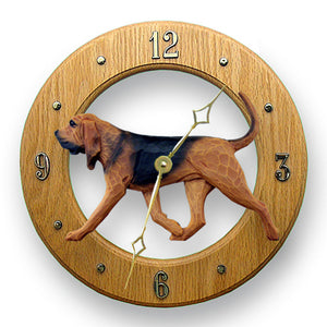 Bloodhound Dog Light Oak Hand Crafted Wall Clock Red with Black Saddle