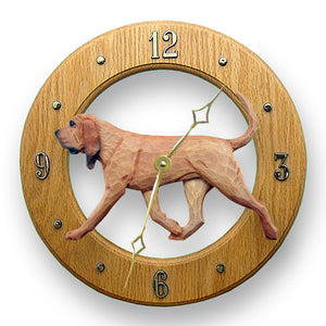 Bloodhound Dog Light Oak Hand Crafted Wall Clock Red