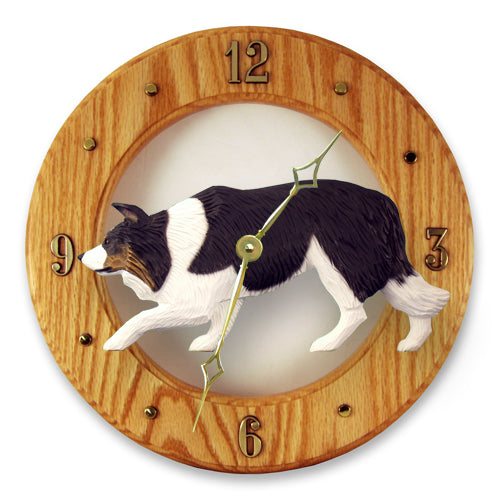 Border collie Dog Light Oak Hand Crafted Wall Clock Black
