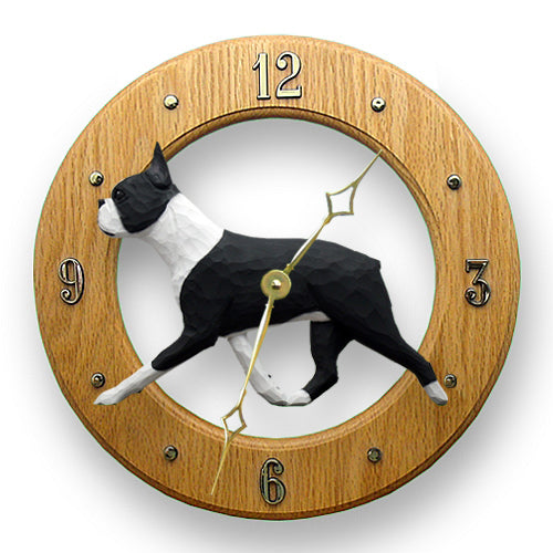 Boston terrier Dog Light Oak Hand Crafted Wall Clock Black