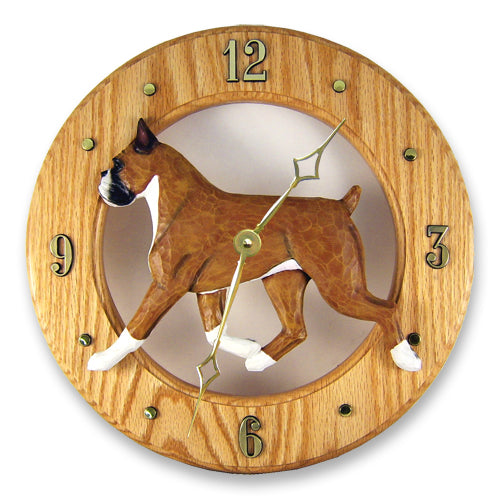 Boxer Dog Light Oak Hand Crafted Wall Clock Brindle