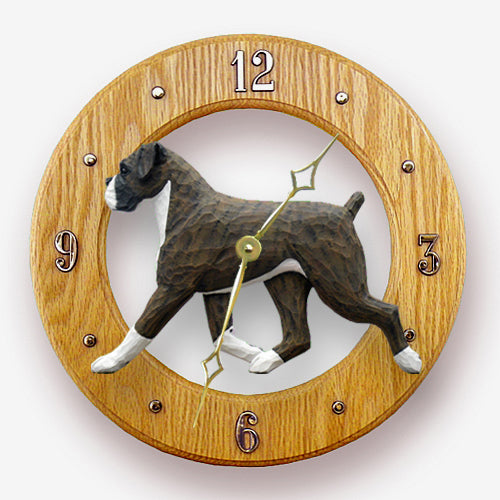 Boxer Natural Dog Light Oak Hand Crafted Wall Clock Brindle