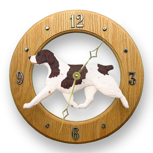 Brittany Dog Light Oak Hand Crafted Wall Clock Liver