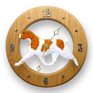 Brittany Dog Light Oak Hand Crafted Wall Clock Orange