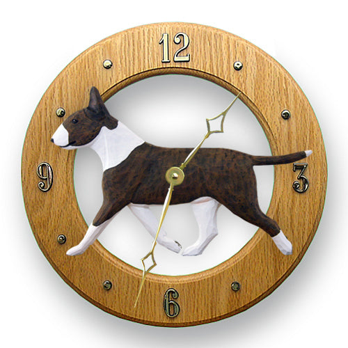 Bull terrier Dog Light Oak Hand Crafted Wall Clock Brindle and White