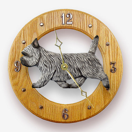 Cairn terrier Dog Light Oak Hand Crafted Wall Clock Black Brindle