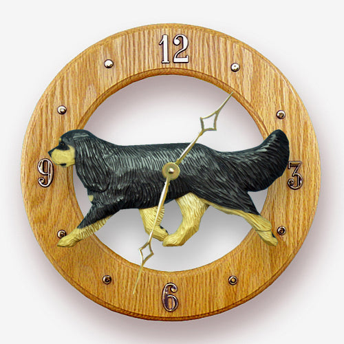 Cavalier king charles spaniel Dog Light Oak Hand Crafted Wall Clock Black and Tan