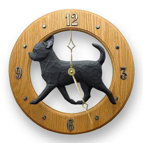 Chihuahua Dog Light Oak Hand Crafted Wall Clock Black