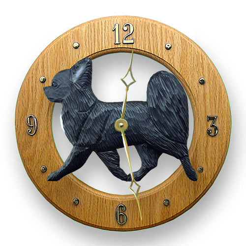Chihuahua longhair Dog Light Oak Hand Crafted Wall Clock Black