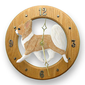 Chihuahua longhair Dog Light Oak Hand Crafted Wall Clock Fawn