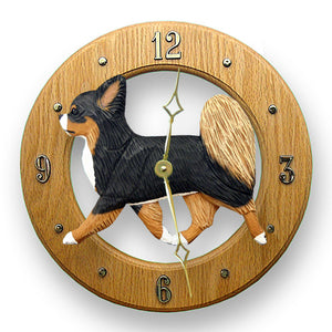 Chihuahua longhair Dog Light Oak Hand Crafted Wall Clock Fawn and White