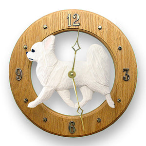 Chihuahua longhair Dog Light Oak Hand Crafted Wall Clock Tri Color