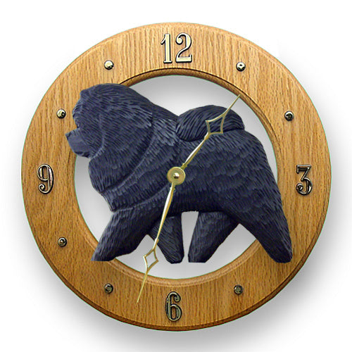Chow chow Dog Light Oak Hand Crafted Wall Clock Black
