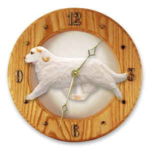 Clumber spaniel Dog Light Oak Hand Crafted Wall Clock Orange