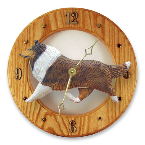 Collie Dog Light Oak Hand Crafted Wall Clock Blue