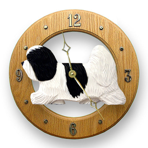 Coton de tulear Dog Light Oak Hand Crafted Wall Clock Black and White