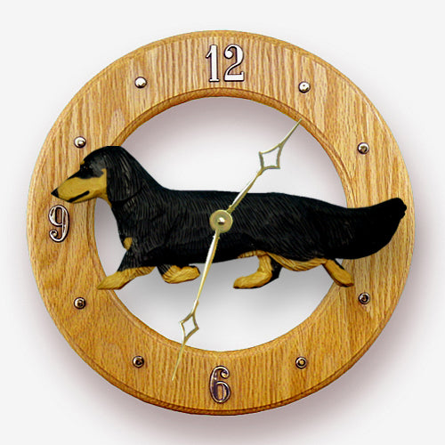 Dachshund Long Hair Dog Light Oak Hand Crafted Wall Clock Black and Tan