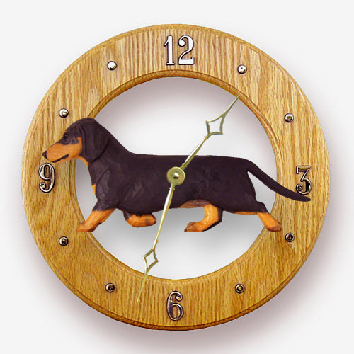 Dachshund Smooth Dog Light Oak Hand Crafted Wall Clock Black and Tan