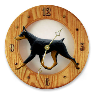Doberman Dog Light Oak Hand Crafted Wall Clock Black and Tan