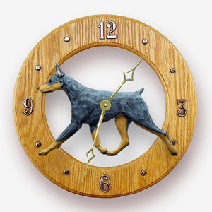 Doberman Dog Light Oak Hand Crafted Wall Clock Blue and Tan