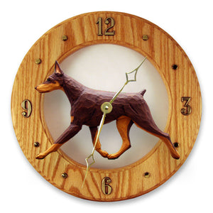 Doberman Dog Light Oak Hand Crafted Wall Clock Red and Tan