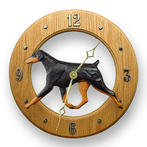 Doberman Natural Dog Light Oak Hand Crafted Wall Clock Black and Tan