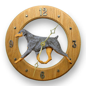 Doberman Natural Dog Light Oak Hand Crafted Wall Clock Blue and Tan