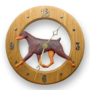 Doberman Natural Dog Light Oak Hand Crafted Wall Clock Red and Tan