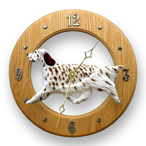 English setter Dog Light Oak Hand Crafted Wall Clock Blue