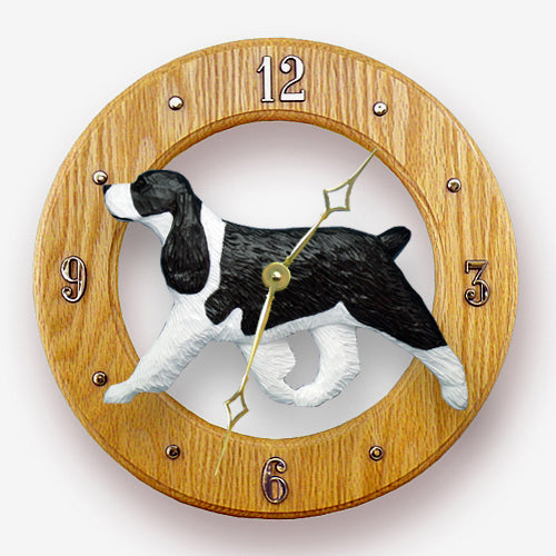English springer spaniel Dog Light Oak Hand Crafted Wall Clock Black