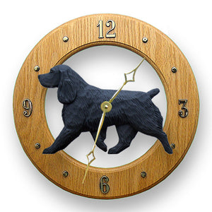 Field spaniel Dog Light Oak Hand Crafted Wall Clock Black