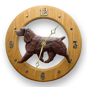 Field spaniel Dog Light Oak Hand Crafted Wall Clock Liver