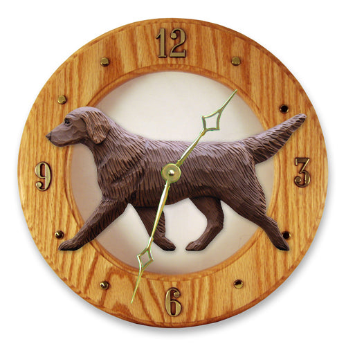 Flat coated Retriever Dog Light Oak Hand Crafted Wall Clock Black