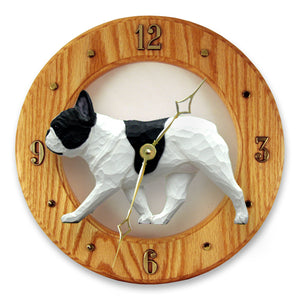 French Bulldog Dog Light Oak Hand Crafted Wall Clock Pied
