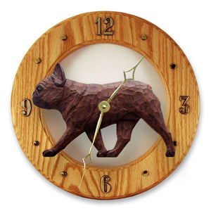 French Bulldog Dog Light Oak Hand Crafted Wall Clock Red Brindle