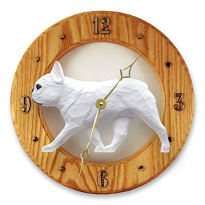 French Bulldog Dog Light Oak Hand Crafted Wall Clock White