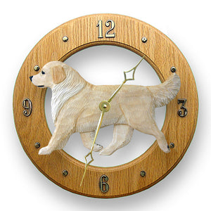 Golden retriever Dog Light Oak Hand Crafted Wall Clock Cream