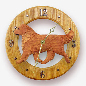 Golden retriever Dog Light Oak Hand Crafted Wall Clock Dark