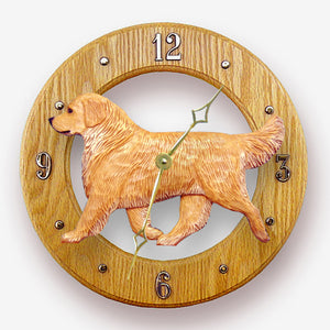 Golden retriever Dog Light Oak Hand Crafted Wall Clock Light
