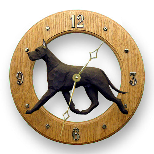 Great dane Dog Light Oak Hand Crafted Wall Clock Black