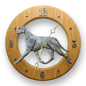 Great dane Natural Dog Light Oak Hand Crafted Wall Clock Blue