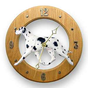 Great dane Natural Dog Light Oak Hand Crafted Wall Clock Harlequin