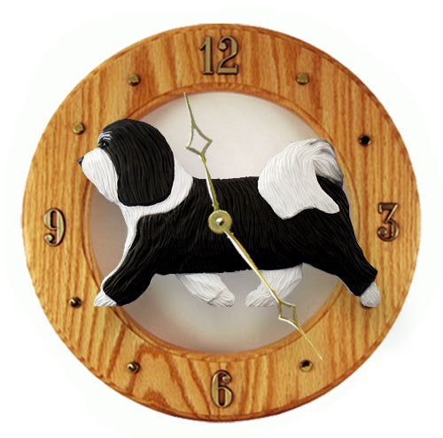 Havanese Dog Light Oak Hand Crafted Wall Clock Black and White